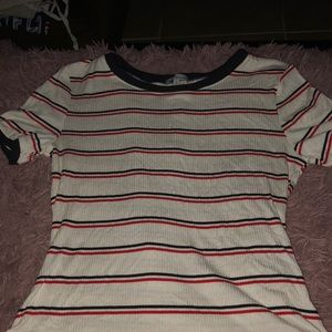 Red white and cream striped body suit
